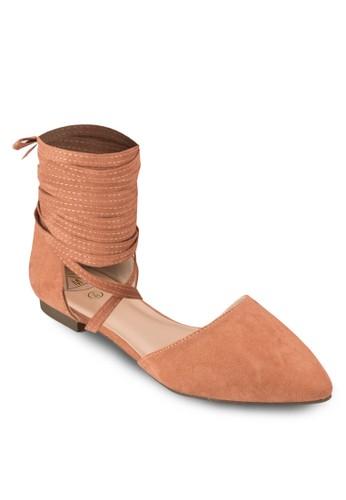 纏繞式繞踝素色平底鞋zalora 手錶, 女鞋, 鞋