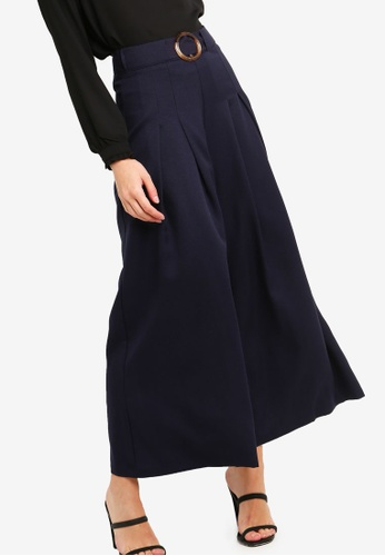 ZALORA navy Wide Leg Pants With Buckle Belt 72BE0AA9909A7AGS_1