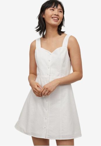 H&M white Button-Front Dress 8A1F8AAB5E8FB9GS_1