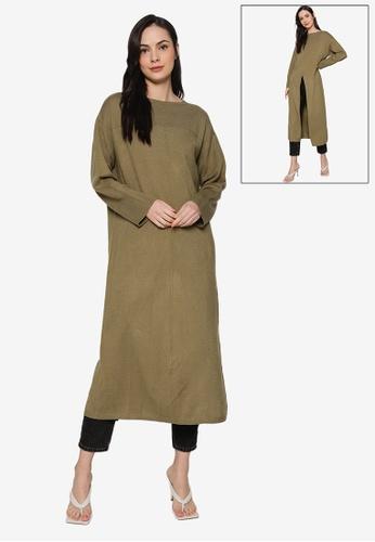 LOWRYS FARM green Reversible Splice Hem Dress 57AB3AA81B6A8CGS_1