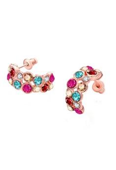 Treasure by B&D E019 Dazzle Colour Zircon Circle Stud Earrings