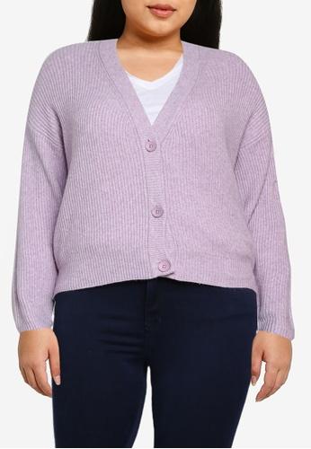 Only CARMAKOMA purple Plus Size Esly V-neck Knit Cardigan E239BAAD51CEF8GS_1