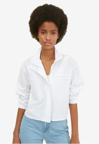 Trendyol white Stand Collar Zipper Shirt E74D2AA6D9179AGS_1