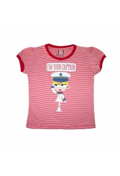Bug and Kelly I'm Your Captain Red Mini Striped Girls Shirt(Junior)