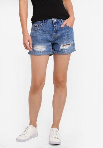 Superdry blue Steph Boyfriend Shorts 108A6AAB068CA9GS_1