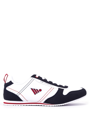 Jump white and navy Carver Lace Up Sneakers JU701SH50DGNPH_1