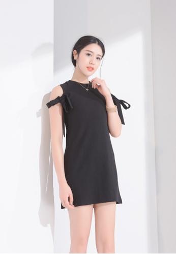 Zafiti black Round Neckline Off-Shoulder Dress 3C06BAA27099ABGS_1