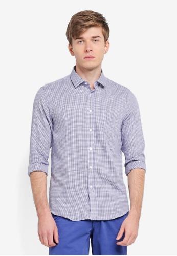 threads by the produce blue Dobby Long Sleeve Shirt TH122AA0SPBYMY_1