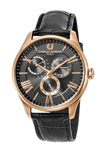 Charles Jourdan black Charles Jourdan Men CJ1047-1533M Black Genuine Leather Watch A195BAC21EA0D5GS_1