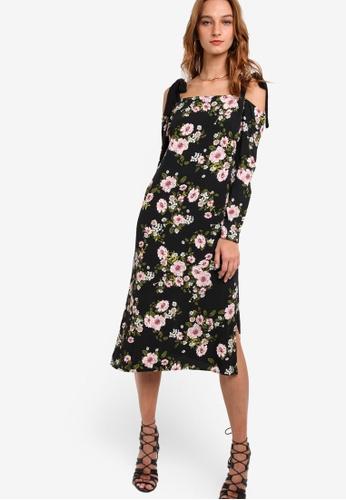Miss Selfridge black Cold Shoulder Tie Frill Dress MI665AA86KKZMY_1