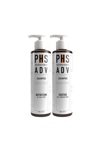 PHS HAIRSCIENCE PHS HAIRSCIENCE Signature Double Cleanse - ADV Nutrition Shampoo + ADV Soothe Correcting Shampoo [For Sensitive/Dry Scalp, Soothes Inflammation and Itchiness] 47E48BE92BF4E2GS_1