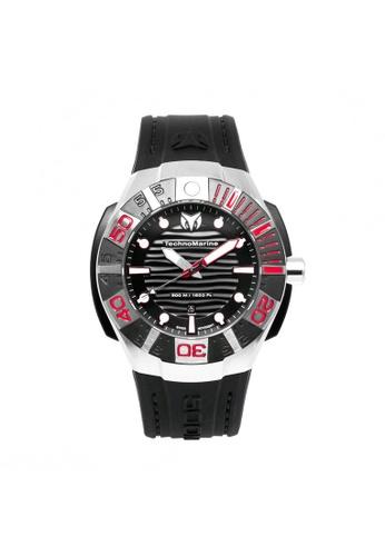TECHNOMARINE black Technomarine Reef Men 45.5mm Case Black Silicone Strap Black Dial Quartz Watch TM-515010 TE359AC0F5E5SG_1