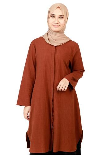 Ashura brown Zenia Full Hidden Button Top 84725AA81B0E57GS_1