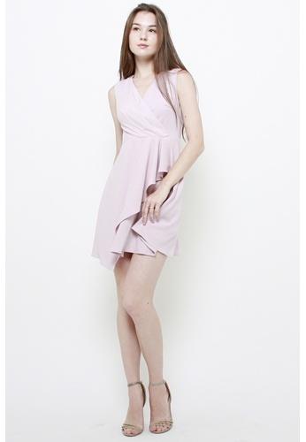 QLOTHE pink Pepper Ruffle Dress 38D65AAF79E890GS_1