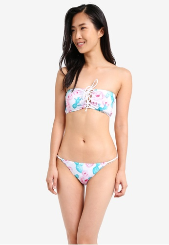 South Beach multi Cactus Print Lace Up Bandeau Bikini SO840US0SS62MY_1