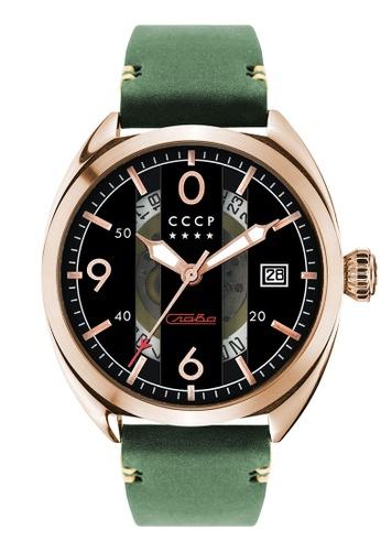 CCCP green CCCP Men's Green Genuine Leather Watch - CP-7035-04 19DB1ACD7C0557GS_1