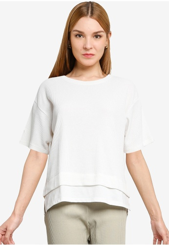 LOWRYS FARM white Textured Knitted Layered Top A5532AABD2CF16GS_1
