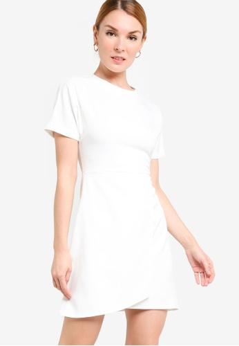 ZALORA WORK white Rolled Up Sleeve Wrap Mini Dress 65863AADA9C998GS_1