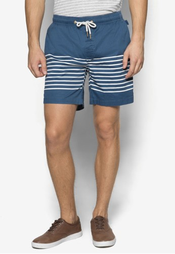 Rivizalora taiwan 時尚購物網era 條紋拼接休閒短褲, 服飾, 運動