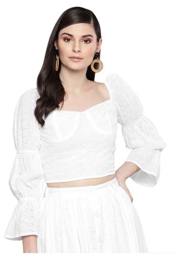 SASSAFRAS white White Schiffli Bishop Sleeve Crop top FB992AA067091CGS_1