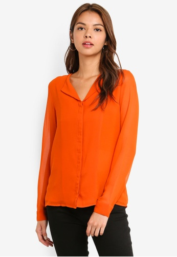 Pieces orange Kelly Long Sleeve Shirt 5EB65AAC4E6B9AGS_1