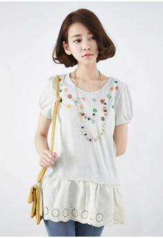 [EYECREAM] Layered Short Sleeve Top with Lace Ruff