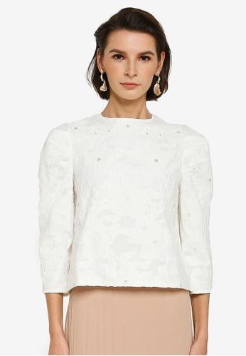 Zalia white Embroidery Floral Top 7491DAA2DECE14GS_1