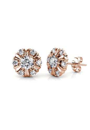 Her Jewellery gold Sun Petal Earrings (Rose Gold) - Made with premium grade crystals from Austria 590D4AC4AAA372GS_1