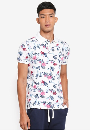 Hollister white Floral Polo Shirt 4BF19AAE6CEE0AGS_1
