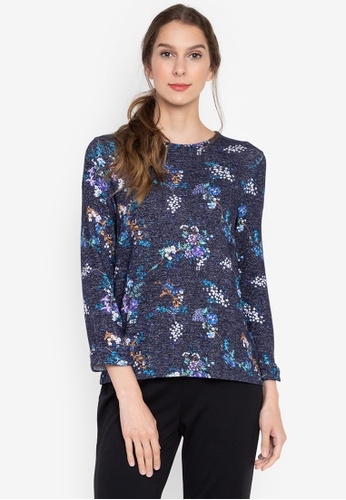 MARKS & SPENCER navy 3/4 Floral Top 2DD60AAF1A067FGS_1