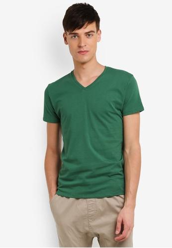 Electro Denim Lab green Cotton V-Neck Tee EL966AA0RWINMY_1