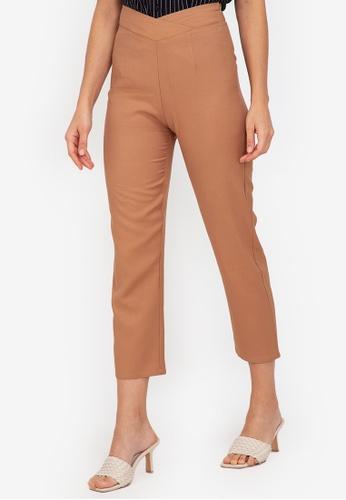 ZALORA WORK brown Overlap Detail Pants 0B331AAF17B558GS_1