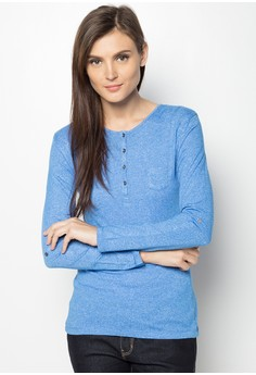 Long Sleeved Basc Tee with Snap Button Detail