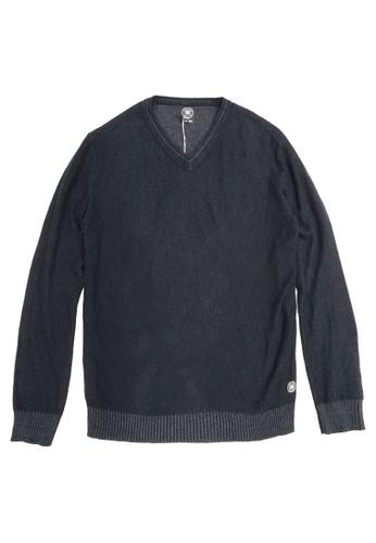 East Pole black Men's V-neck Cotton Cashmere Sweater 3C31BAA03BBCD6GS_1