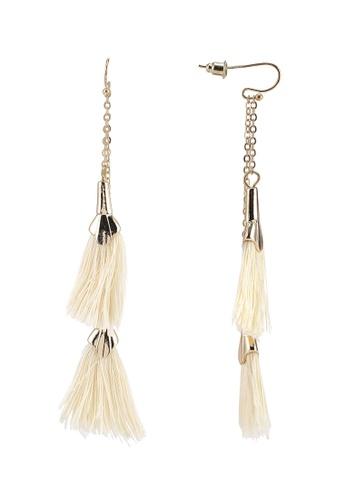 Red's Revenge gold Swaying Fringe Dangle Earrings 9F0EBAC22B1357GS_1
