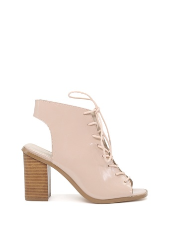 London Rag beige Nude Lace Up Peep Toe Sandals 367F3SH9356186GS_1