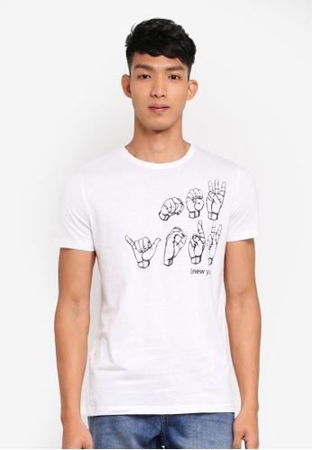 OVS 白色 短袖印花T恤 DD96CAA4C7C209GS_1