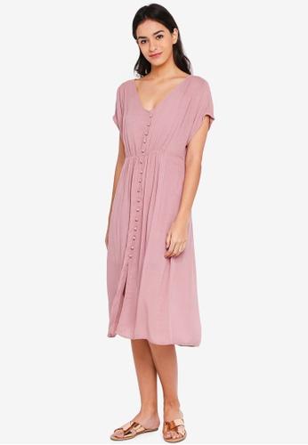 Vero Moda red Ciao Button Short Sleeve Calf Dress 9E97AAAEA03C9DGS_1