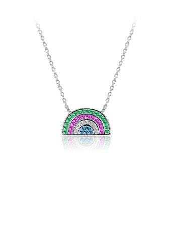 Glamorousky multi 925 Sterling Silver Colorful Rainbow Necklace with Austrian Element Crystal 66748AC2EA1B29GS_1