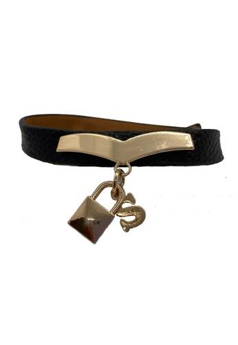 Oxhide black Oxhide Leather Bracelet Black with Lock Design 515C7AC9BD4E32GS_1