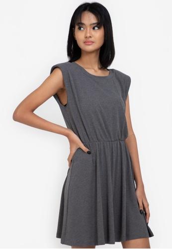 ZALORA BASICS grey Rib Shoulder Pad Fit & Flare Dress AB3CDAAF4937CCGS_1