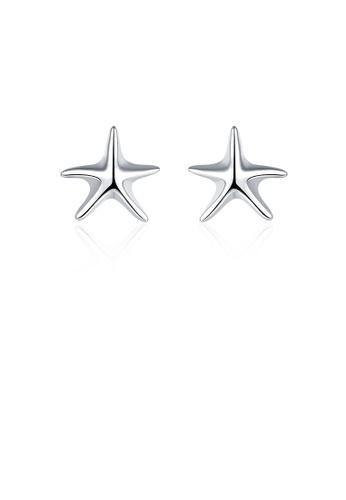 Glamorousky silver Simple Fashion Star Stud Earrings A1F39AC6D94298GS_1
