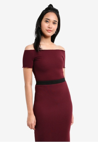 Something Borrowed red Rib Knit Off Shoulder Bodycon Top 4B7B8AA335CAB9GS_1