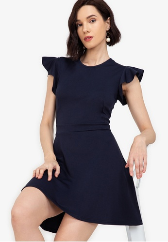 ZALORA WORK navy Flare Sleeves Fit & Flare Dress 55EFEAA163560EGS_1