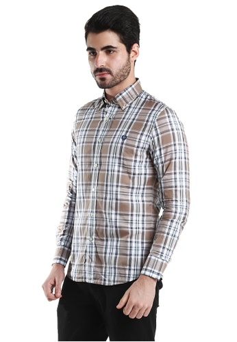 Fred Perry Green Label white and brown Brown Checkers Long Sleeve Shirt FR595AA16VZRMY_1