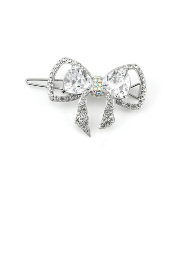 Glamorousky silver Charming Ribbon Barrette with Silver Austrian Element Crystal 4D72EACE88AF10GS_1