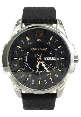 Chronomart black and silver Men's Business Bilingual Date Display Leather Strap Wrist Watch CH783AC83TWYPH_1