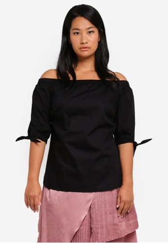LOST INK PLUS black Plus Size Bardot Top With Ties LO776AA0T1SUMY_1