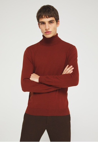 Sisley red High-neck knitted top 3E279AA3239F60GS_1