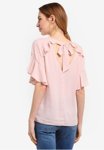 Dorothy Perkins pink Blush Ruffle Back Top 79127AA48BEFF8GS_1